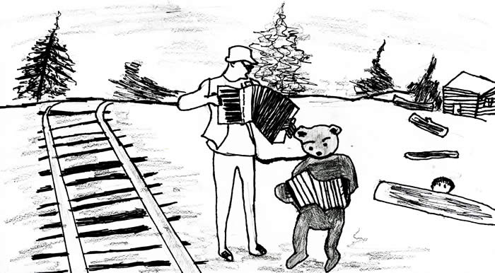 """The Bear Man"" - Illustration by Andrew Uihlein: Man and bear play accordion by railroad tracks as boy hides behind log"