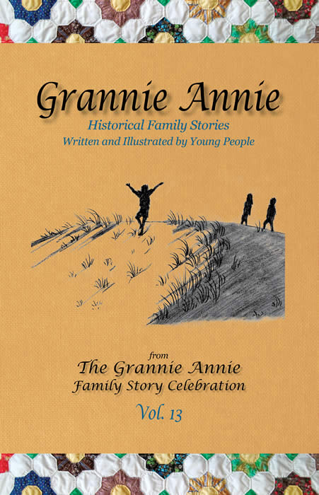 Grannie Annie Vol. 13 - cover: marigold background with quilt borders; student drawing of children playing on a sand dune