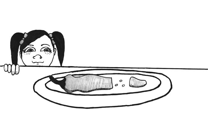 "Illustration for ""The Twins and a Chili Pepper"" - A girl in pigtails peers across the tabletop at a chili pepper on a plate, sliced and exposing several seeds."